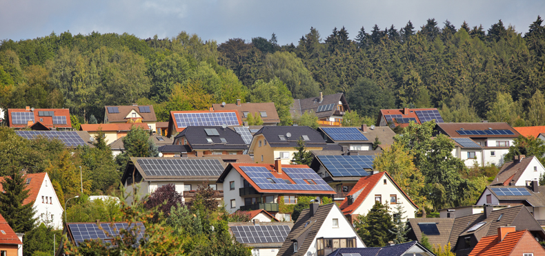 homes with solar panels on them