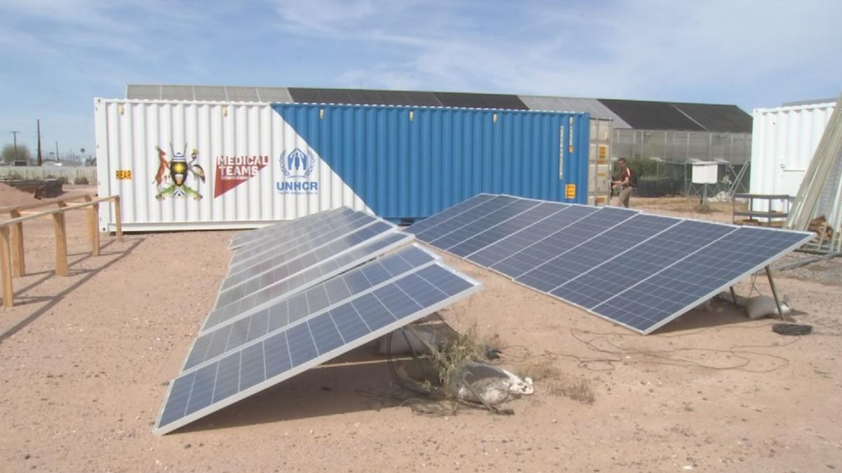 solar-powered medical clinic in a shipping container