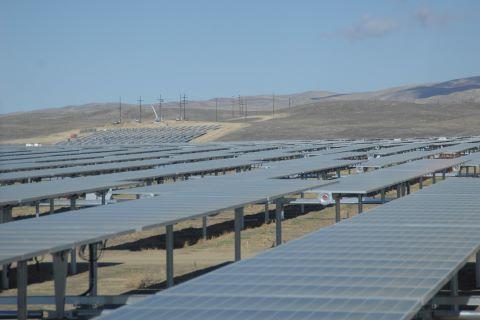 Construction of solar panel installation in California desert.